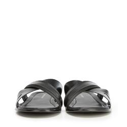 Męskie skórzane klapki z dwoma paskami, czarny, 90-M-918-1-41, Zdjęcie 1