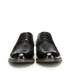 Męskie brogsy skórzane z drobną fakturą, czarny, 90-M-919-1-45, Zdjęcie 1