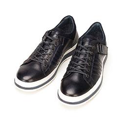 Męskie sneakersy skórzane na grubej podeszwie, granatowo - biały, 92-M-500-7-44, Zdjęcie 1
