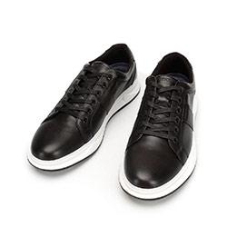 Męskie sneakersy skórzane na gumowej podeszwie, czarny, 92-M-510-1-44, Zdjęcie 1