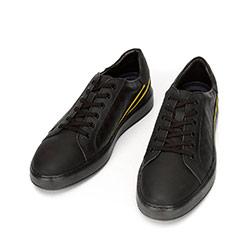 Męskie sneakersy ze skóry z kontrastowymi paskami, czarno - żółty, 92-M-511-1-41, Zdjęcie 1