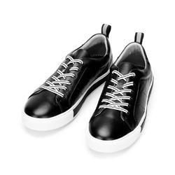 Męskie sneakersy skórzane z perforacjami, czarno - biały, 92-M-901-1-39, Zdjęcie 1