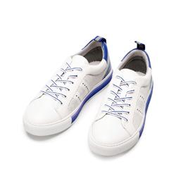 Męskie sneakersy skórzane z perforacjami, biało - niebieski, 92-M-901-B-40, Zdjęcie 1