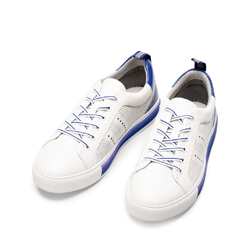 Męskie sneakersy skórzane z perforacjami, biało - niebieski, 92-M-901-B-45, Zdjęcie 1