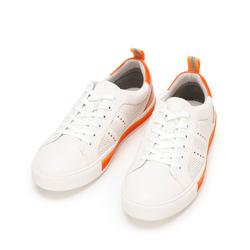 Męskie sneakersy skórzane z perforacjami, biało-pomarańczowy, 92-M-901-O-41, Zdjęcie 1