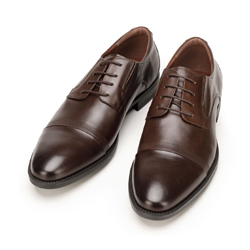 Men's smart lace up shoes with embossed detail, brown, 92-M-908-4-42, Photo 1