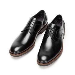 Buty do garnituru skórzane z dziurkowanym wzorem, czarny, 92-M-909-1-44, Zdjęcie 1