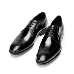 Leather Derby shoes with elasticated side gores, black, 92-M-910-1-41, Photo 1