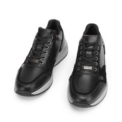 Męskie sneakersy ze skóry na grubej podeszwie, czarny, 93-M-300-1-44, Zdjęcie 1