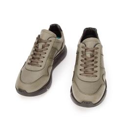 Męskie sneakersy z wegańskiej skóry ze wstawką lizard, khaki, 93-M-301-Z-41, Zdjęcie 1