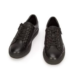 Męskie sneakersy ze skóry o kroju trampek, czarny, 93-M-501-1-41, Zdjęcie 1