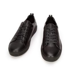 Męskie sneakersy skórzane z lakierowaną wstawką, czarny, 93-M-502-1-39, Zdjęcie 1