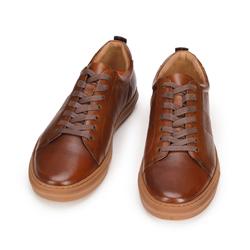 Męskie sneakersy skórzane z motywem plecionki po bokach, brązowy, 93-M-503-4-42, Zdjęcie 1