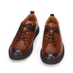 Męskie sneakersy skórzane na ciemnej podeszwie, brązowy, 93-M-505-4-44, Zdjęcie 1