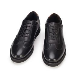 Męskie sneakersy ze skóry licowej na płaskiej podeszwie, czarny, 93-M-506-1-44, Zdjęcie 1