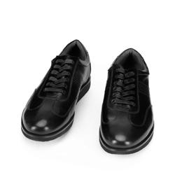 Męskie sneakersy ze skóry licowej na platformie z bieżnikiem, czarny, 93-M-507-1-40, Zdjęcie 1