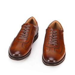 Męskie sneakersy ze skóry licowej na platformie z bieżnikiem, brązowy, 93-M-507-4-42, Zdjęcie 1