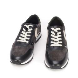 Męskie sneakersy skórzane wielokolorowe, szaro - biały, 93-M-508-8-39, Zdjęcie 1