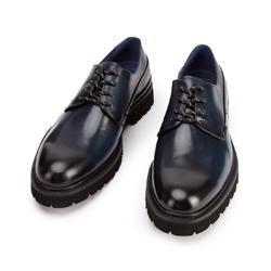 Buty derby skórzane na grubej podeszwie, granatowy, 93-M-514-N-44, Zdjęcie 1