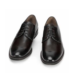 Męskie buty do garnituru skórzane gładkie, czarny, 93-M-524-1-42, Zdjęcie 1