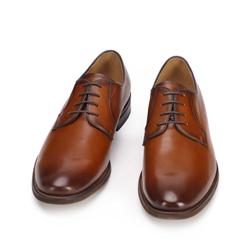 Męskie buty do garnituru skórzane gładkie, brązowy, 93-M-524-5-41, Zdjęcie 1
