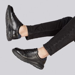 Męskie snekaersy skórzane z poduszką powietrzną, czarny, 93-M-902-1-39, Zdjęcie 1