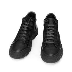 Męskie sneakersy skórzane z suwakiem, czarny, 93-M-904-1-43, Zdjęcie 1