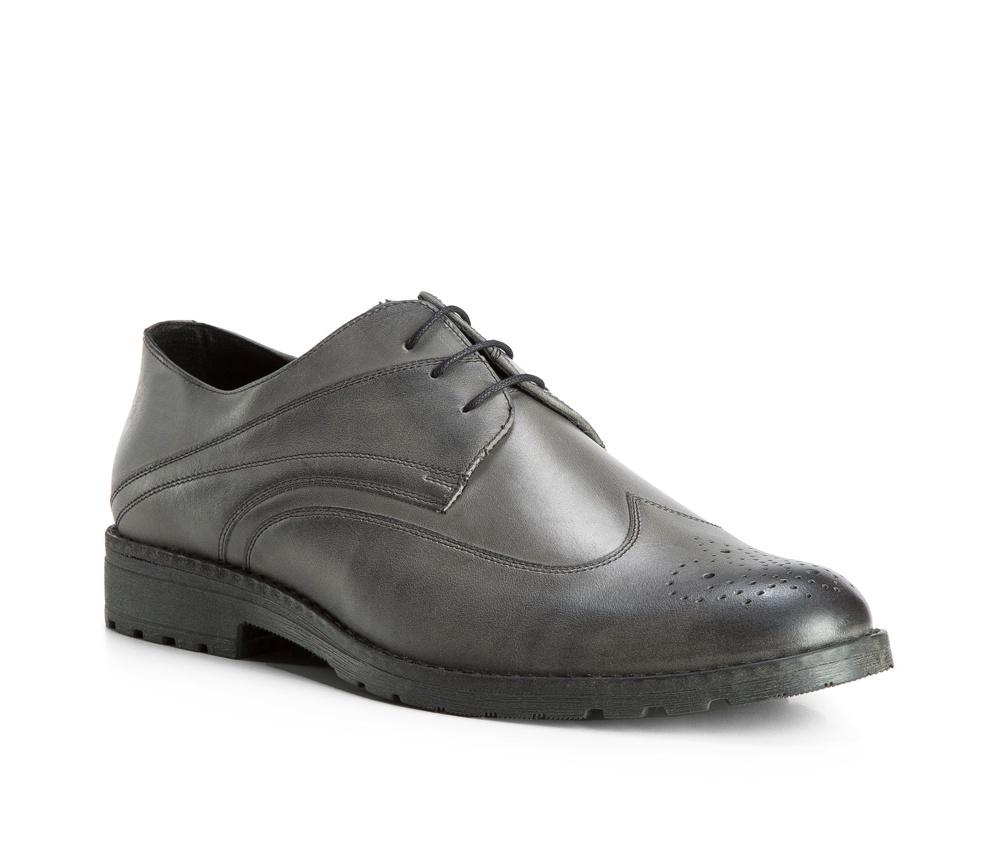 Обувь мужскаяТуфли мужские типа Дерби. Изготовленные по технологии Hand Made выполнены полностью из натуральной итальянской кожи наивысшего качества. Подошва полностью сделана из качественного синтетического материала. Эта модель идеально подходит для тех кому нравится классика и функциональность.<br><br>секс: мужчина<br>Цвет: серый<br>Размер EU: 44<br>материал:: Натуральная кожа<br>примерная высота каблука (см):: 3,5
