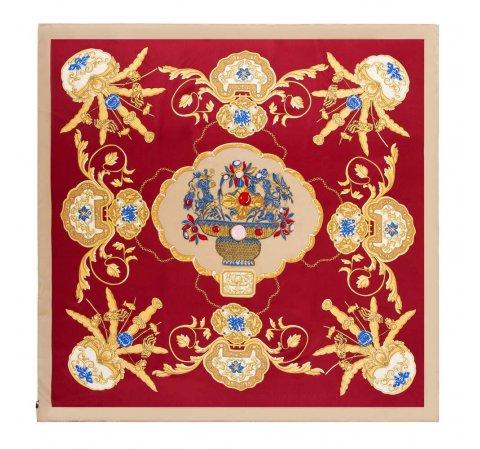 Damska chusta jedwabna, czerwono - żółty, 91-7D-S39-X2, Zdjęcie 1