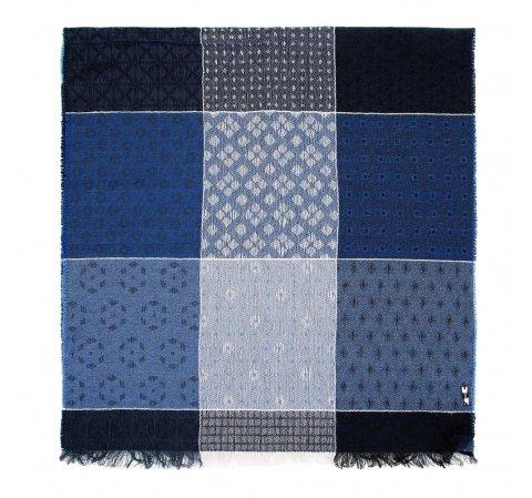 Damski szal z wełną we wzorzystą kratę, niebieski, 91-7D-X01-X1, Zdjęcie 1