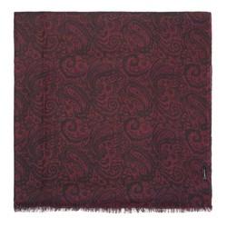 Damski szal z wełny wzorzysty, bordowo - czarny, 91-7D-X02-2, Zdjęcie 1