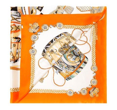 Chusta damska, pomarańczowo - czarny, 85-7D-S30-X5, Zdjęcie 1