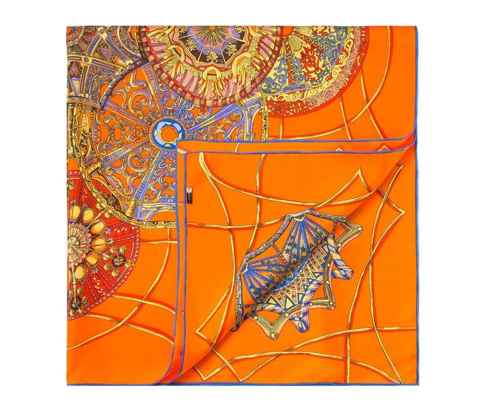 Платок женскийЖенский платок выполнен из шелка с знаком наивысшего качества King Silk.  Благородный материал в сочетании с интересным дизайном создает модный и элегантный образ, который идеально дополнит классический стиль.<br><br>секс: женщина<br>Цвет: разноцветный<br>материал:: Шелк<br>высота (см):: 90<br>ширина (см):: 90