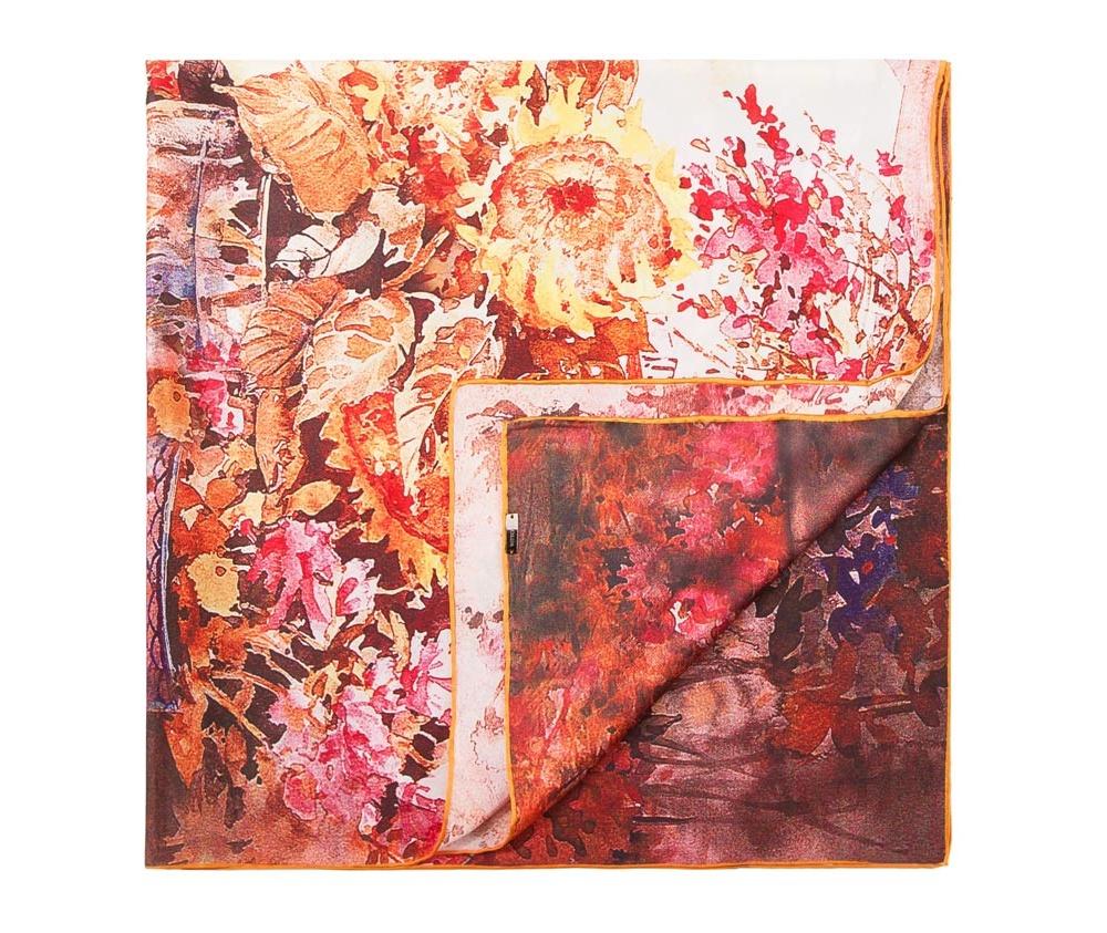 Платок женскийЖенский платок выполнен из шелка с знаком наивысшего качества King Silk.  В модели преобладают теплые тона и оригинальные дизайн , что  гарантирует удовольствие от использования.<br><br>секс: женщина<br>Цвет: разноцветный<br>материал:: Шелк