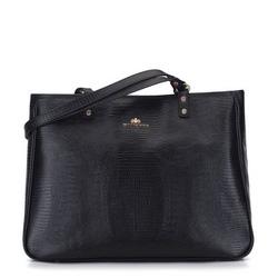 Lizard-embossed shopper bag, black, 15-4-239-1, Photo 1