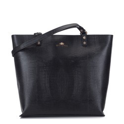 Leather large shopper bag, black, 15-4-241-1, Photo 1
