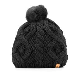 Czapka damska, czarny, 85-HF-009-1, Zdjęcie 1