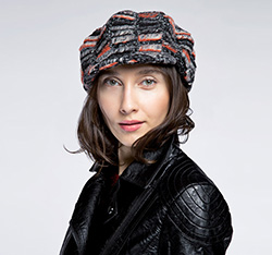 Women's cap, grey-orange, 85-HF-350-X, Photo 1