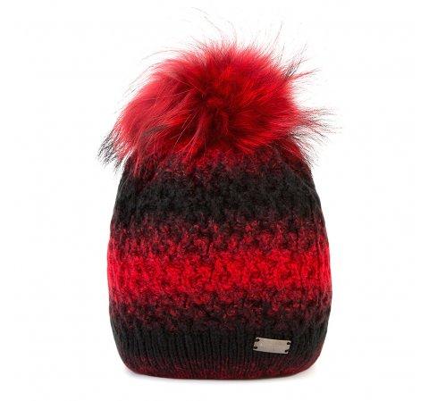 Czapka damska, czerwono - czarny, 87-HF-001-2, Zdjęcie 1
