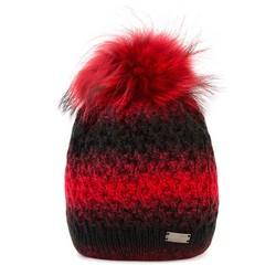 Czapka damska, czerwono - czarny, 89-HF-001-2, Zdjęcie 1