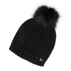 Damska czapka prosta z pomponem, czarny, 91-HF-001-1, Zdjęcie 1
