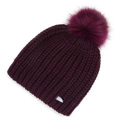Damska czapka prosta z pomponem, bordowy, 91-HF-001-F, Zdjęcie 1