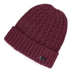 Damska czapka o grubym splocie, bordowy, 91-HF-003-F, Zdjęcie 1