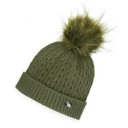 Damska czapka z wiskozy z pomponem, khaki, 91-HF-004-Z, Zdjęcie 1