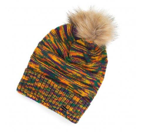 Damska czapka smerfetka marmurkowa z pomponem, multikolor, 91-HF-007-ZY, Zdjęcie 1
