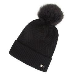 Damska czapka o splocie w karo z pomponem, czarny, 91-HF-008-1, Zdjęcie 1
