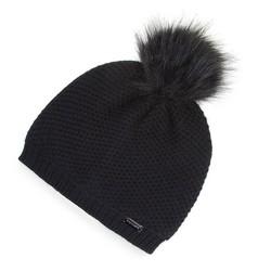 Damska czapka z pomponem elegancka | WITTCHEN, czarny, 91-HF-009-1, Zdjęcie 1