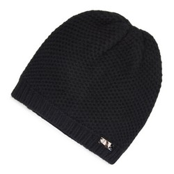Damska czapka o drobnym splocie, czarny, 91-HF-010-1, Zdjęcie 1