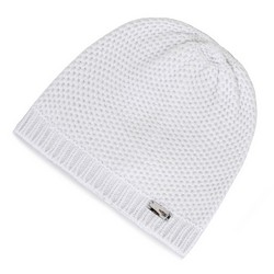 Damska czapka o drobnym splocie, jasny szary, 91-HF-010-8, Zdjęcie 1