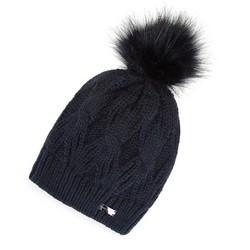 Damska czapka zimowa w warkocze z pomponem, granatowy, 91-HF-011-7, Zdjęcie 1